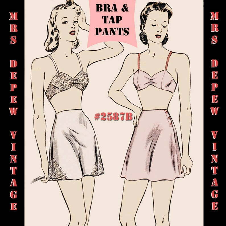 Vintage Sewing Pattern Bra and Tap Pants Print at Home 1940s image 0