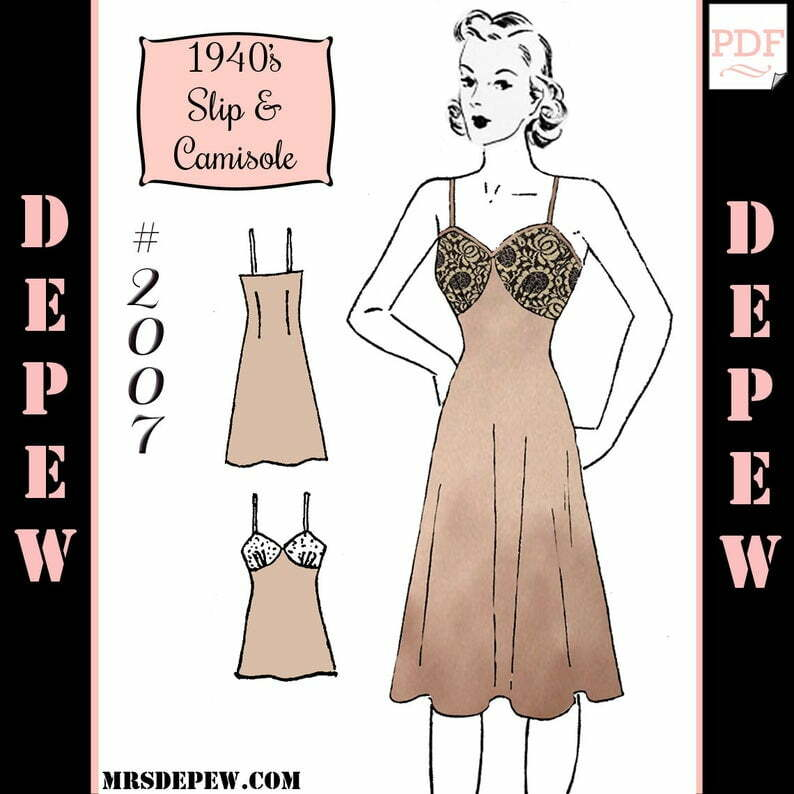 Vintage Sewing Pattern 1940's Slip and Camisole Printable image 0