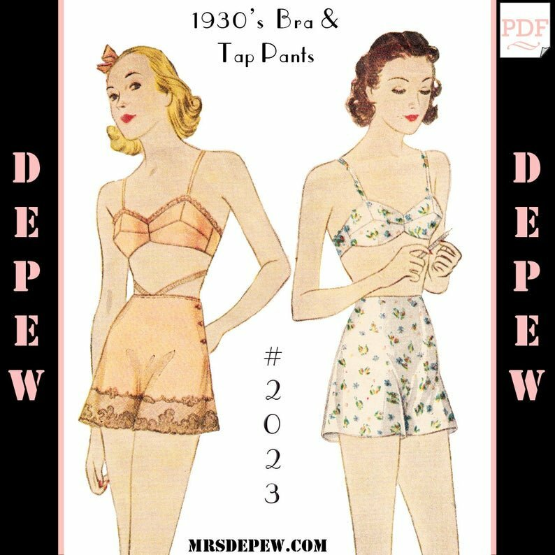 Vintage Sewing Pattern Lingerie Set Multi Size 1930s Bra and image 0