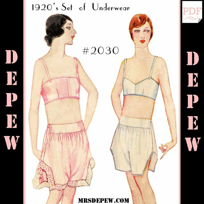 Vintage Sewing Pattern 1920s Bandeau Bra and Step-Ins image 0