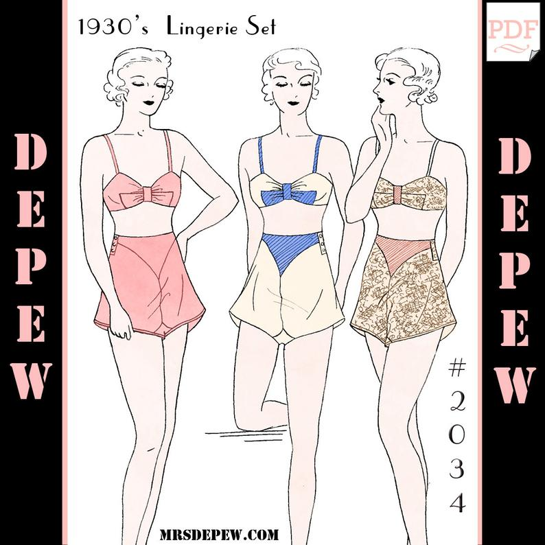 Vintage Sewing Pattern Multi-Size 1930s Bra and Panties 2034 image 0