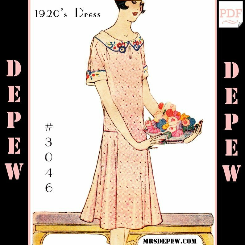 MultiSize Vintage Sewing Pattern Ladies' 1920s Dress 3046 image 0