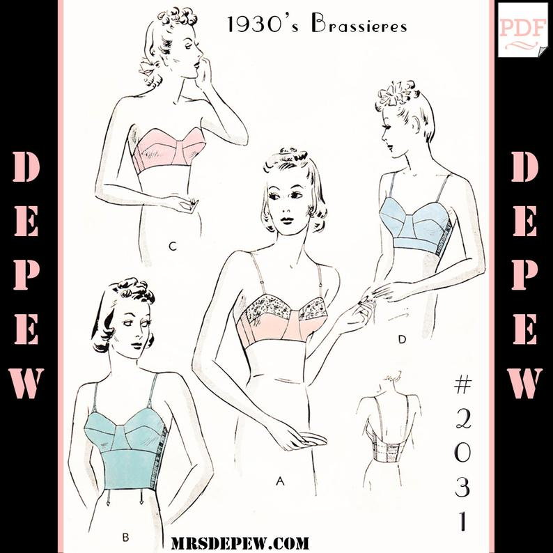 Vintage Sewing Pattern 1930s Long Line or Strapless Bra 2031 image 0
