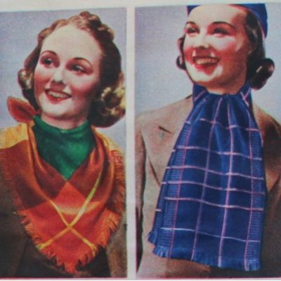 1930s Accessories Guide: Knitted Winter Scarves for Women and Silk Scarves for Men