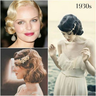 1930s Popular Hairstyles with Accessories for Wedding Guests and Brides