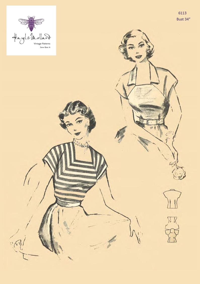 Vintage 1950's Sewing Pattern:  Square Neck Blouse Top image 0