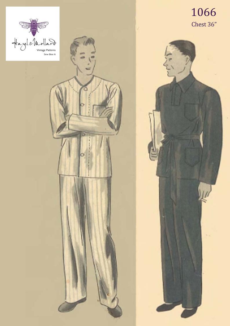 1930's Vintage Sewing Pattern: Men's Pajamas Pyjamas image 0