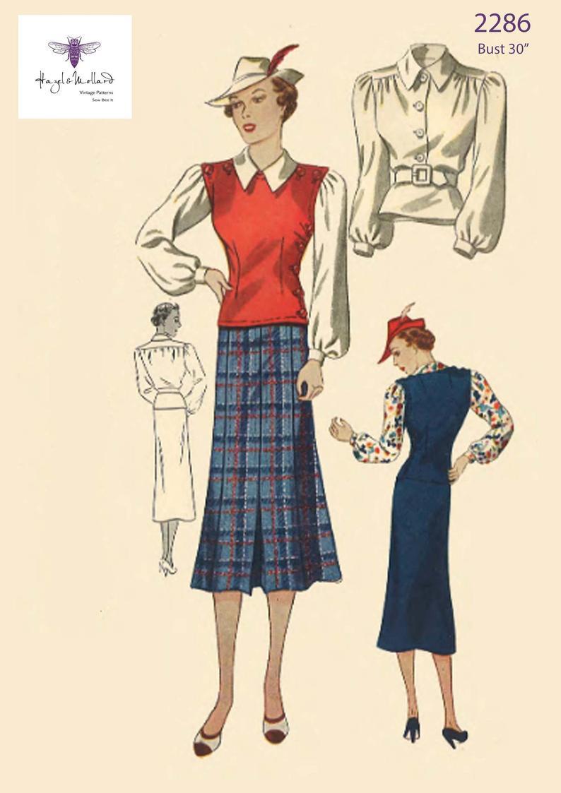 1930s Women's Separates - Vest, Skirt, Blouse Pictures | Photos | Patterns  - Vintage-Retro