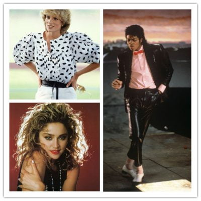 1980s Fashion Icons: Michael Jackson, Diana Princess of Wales and Madonna