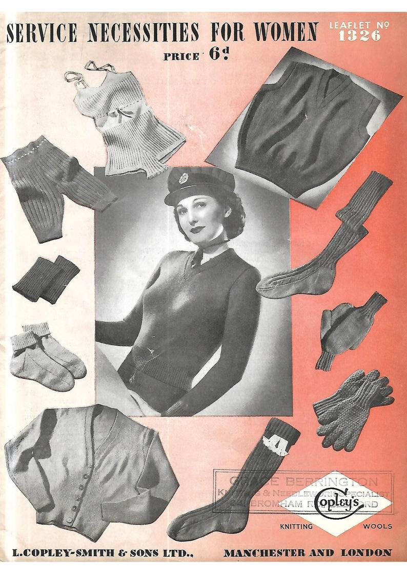Vintage 1930's/ 1940's Knitting Pattern  WW 2 Service image 0