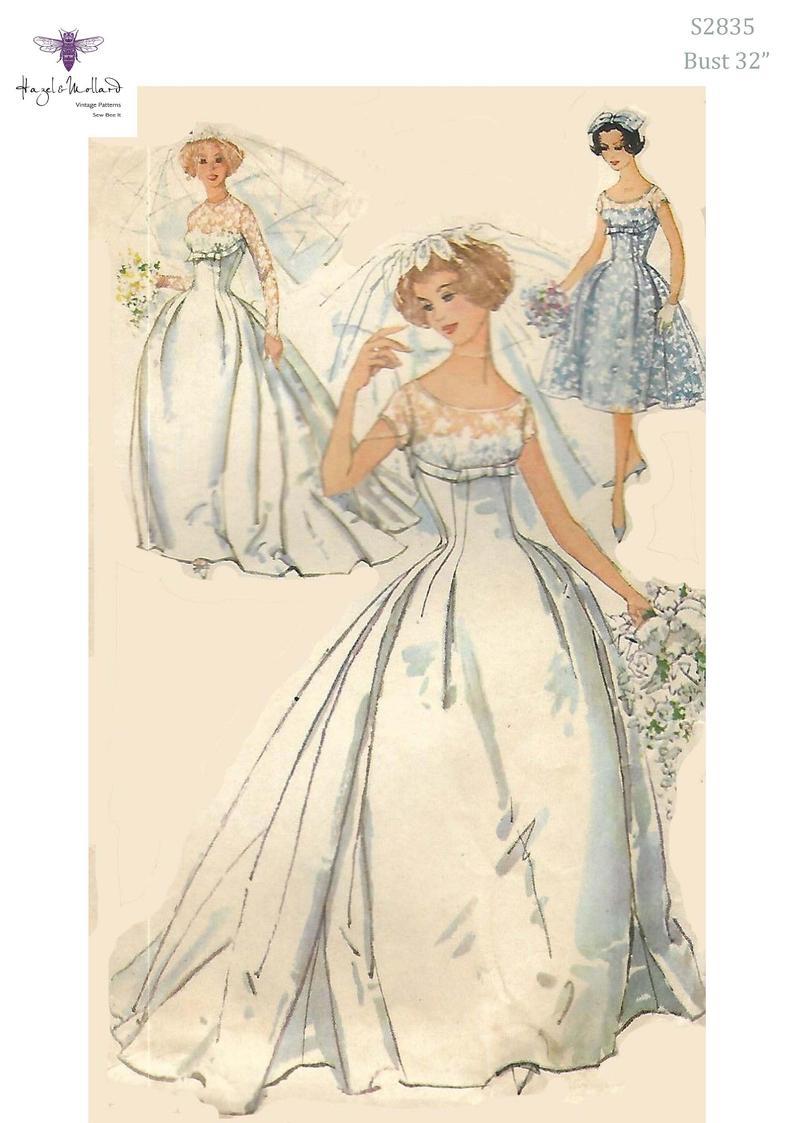 Vintage 1950's Sewing Pattern Romantic Wedding Dress image 0