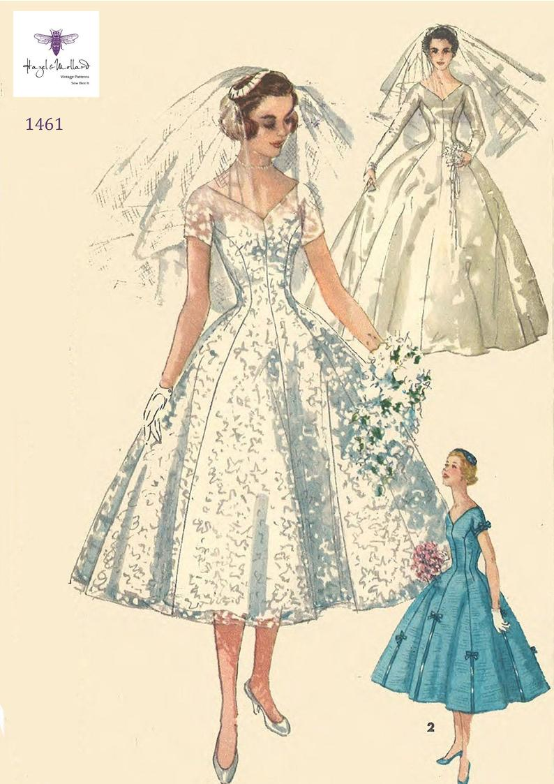 Vintage 1950's Sewing Pattern Grace Kelly Wedding Gown image 0