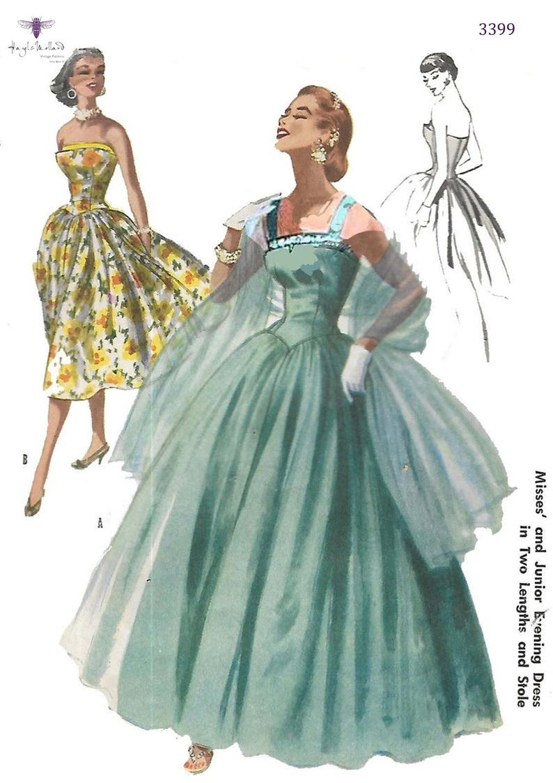 Vintage 1950's Sewing Pattern Evening Dress Bridal Ball image 0
