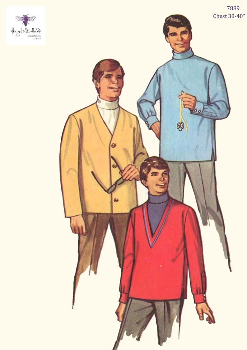 """Vintage 1960's Sewing Pattern: Men's Turtleneck 38"""" - 40"""""""