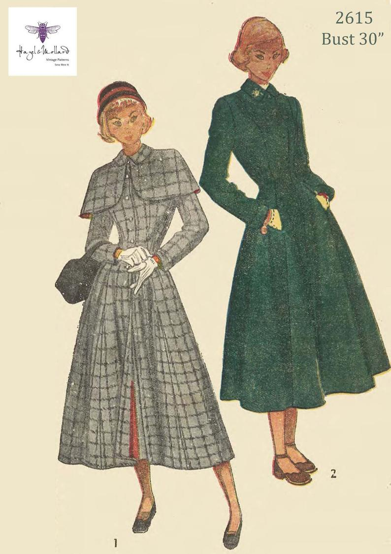 Reproduction Vintage 1940's Sewing Pattern WW11 Fitted 30""
