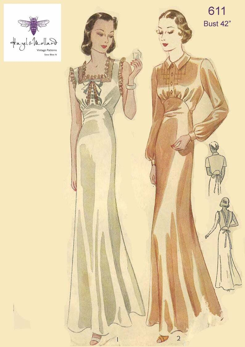 Vintage 1930's Sewing Pattern: Art Deco Long Nightgown image 0