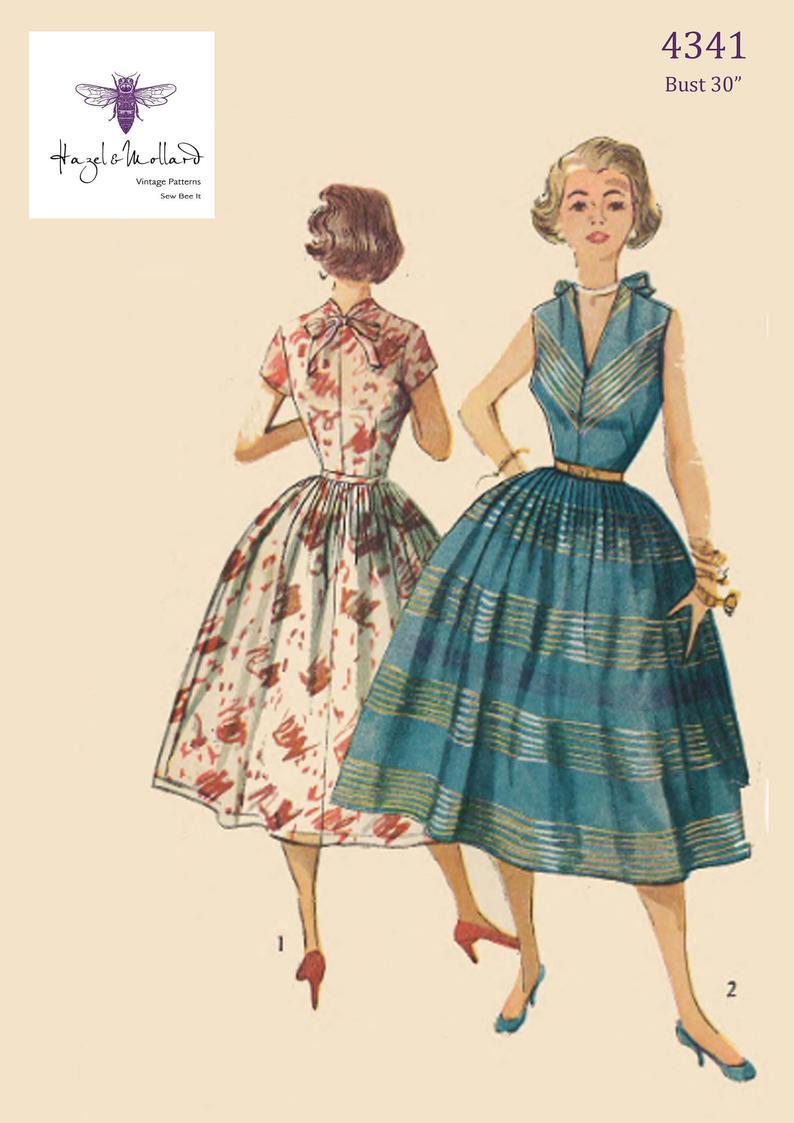 Vintage 1950's Sewing Pattern: Pretty Rockabilly Dress image 0