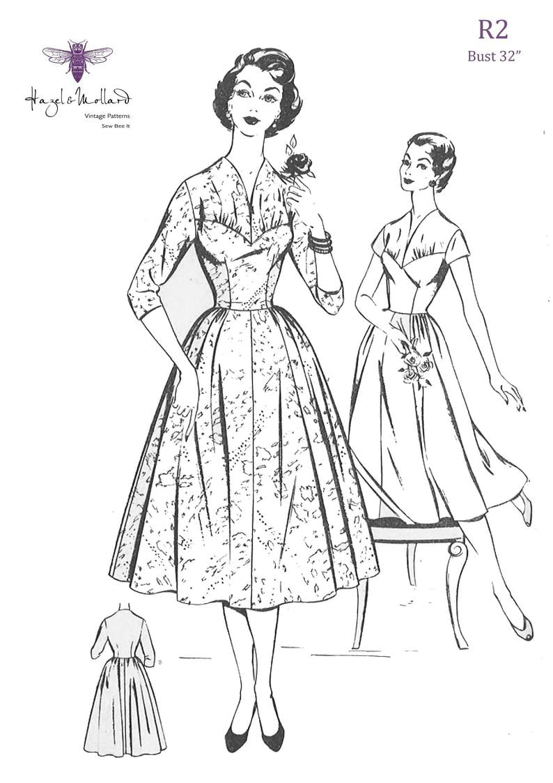 Vintage 1950's Sewing Pattern: Dress with Lace Gathered image 0