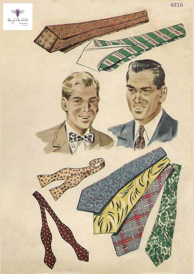 Vintage 1940's Sewing Pattern Debonair Men's Ties image 0