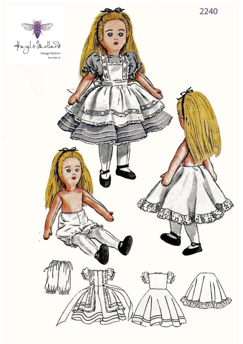 1940's Vintage Sewing Pattern: Alice in Wonderland Doll & image 0