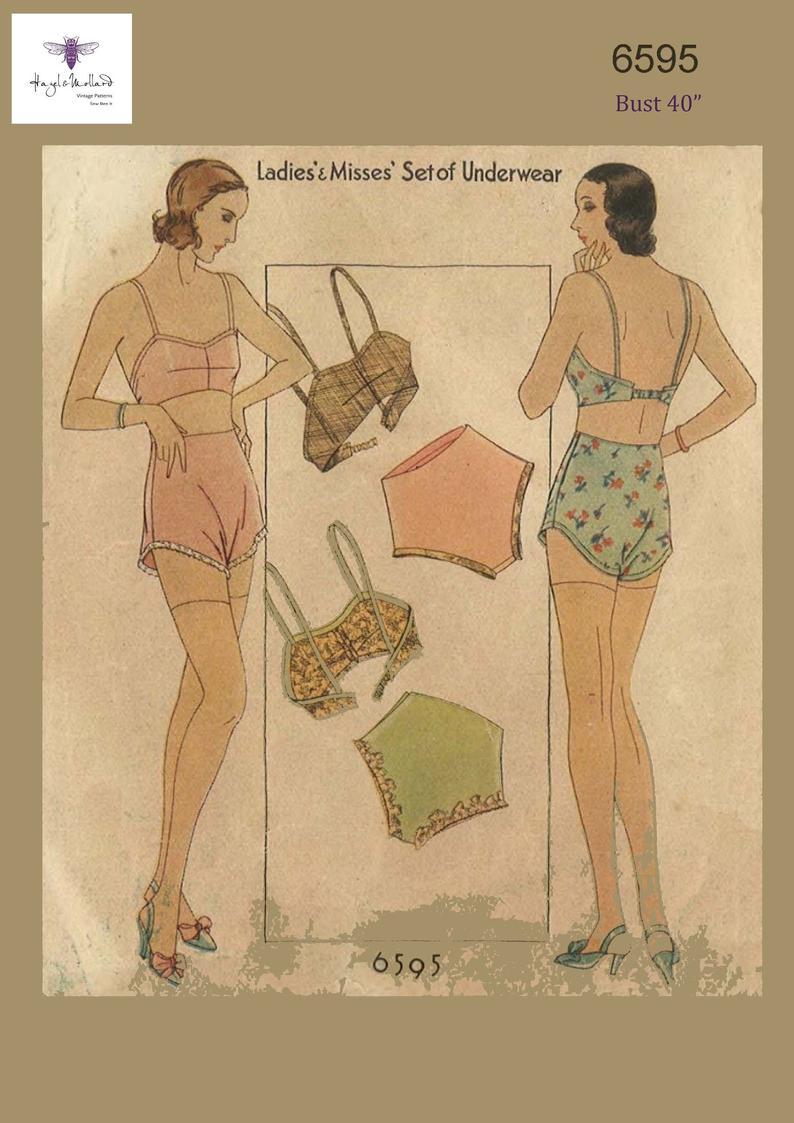 1930's Reproduction Vintage Sewing Pattern Lingerie Set image 0
