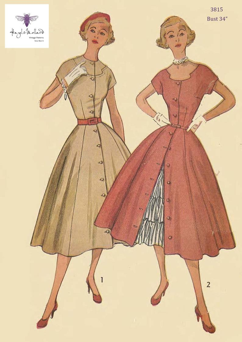 Vintage 1950's Sewing Pattern: Full Skirt Dress with image 0