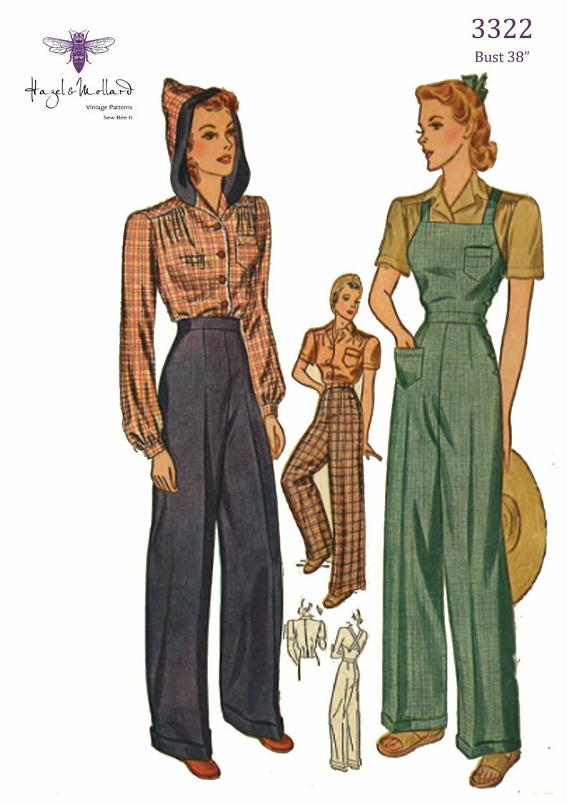 Vintage 1940's Sewing Pattern: Land Girl High Waist Slacks image 0