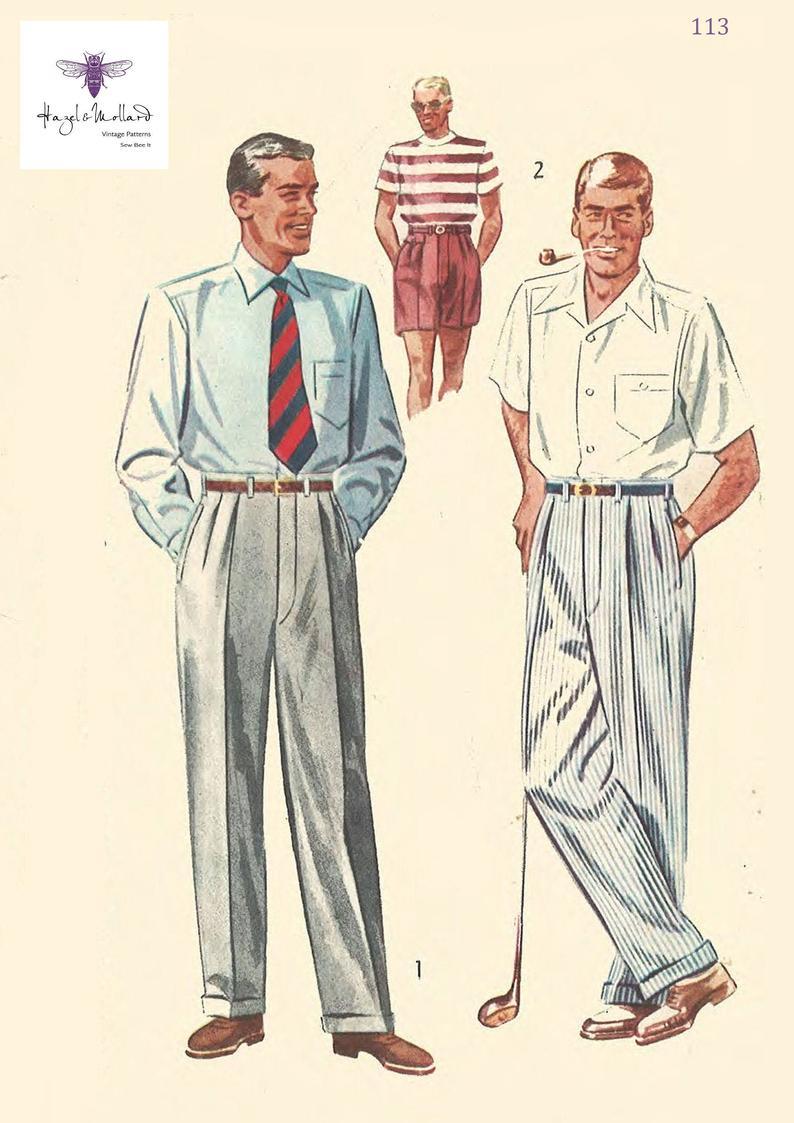 Vintage 1950's Sewing Pattern Men's Slacks Pants image 0