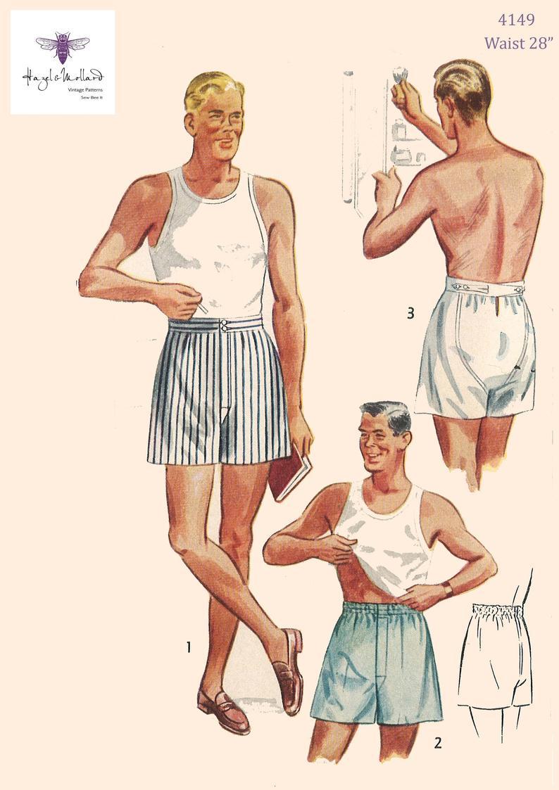 Vintage 1950's Sewing Pattern: Men's Boxer Shorts Size image 0