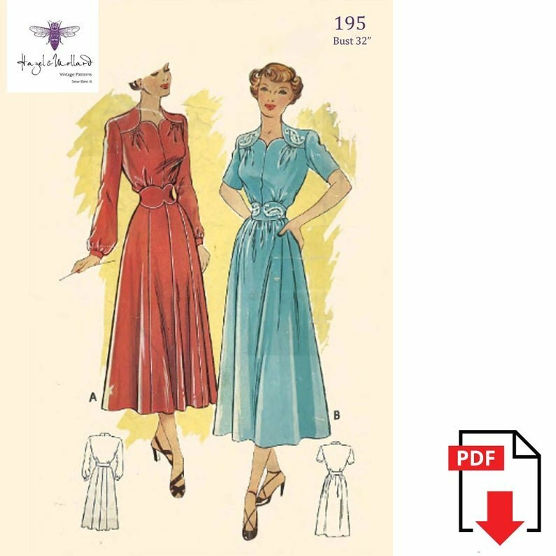 Vintage 1940's Sewing Pattern Wartime Dress Shoulder Yokes image 0
