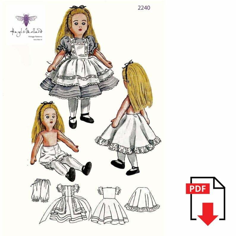 1940's Vintage Sewing Pattern: Alice in Wonderland Doll & image 0
