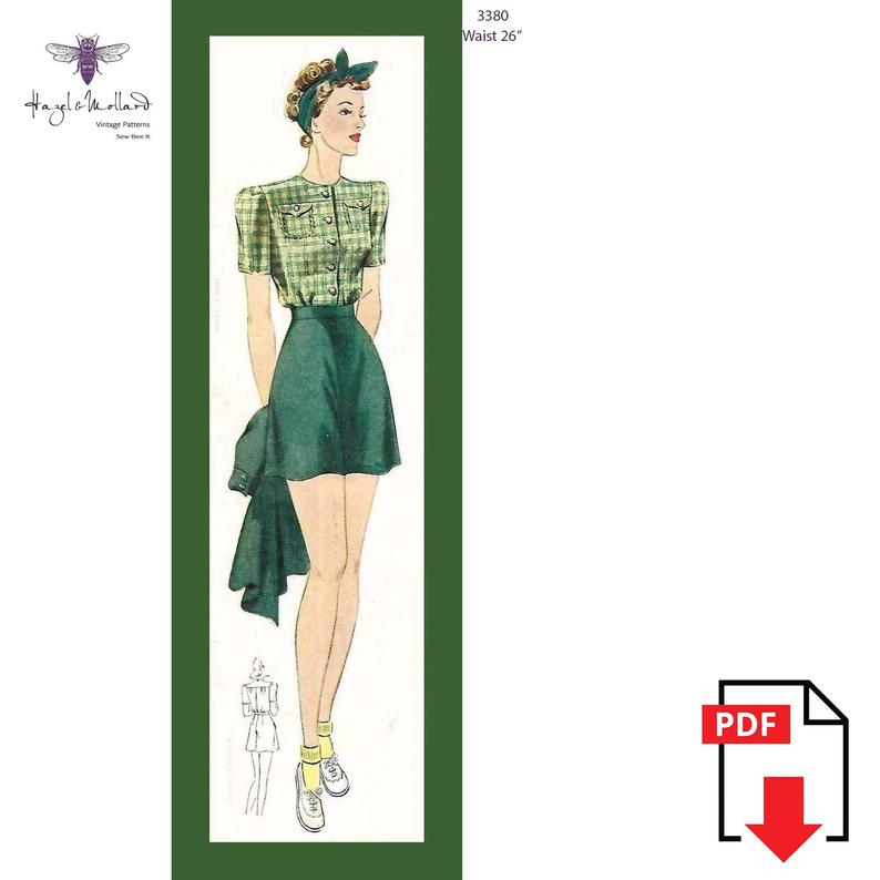 Vintage 1940's Sewing Pattern: Ladies High Waist Shorts image 0