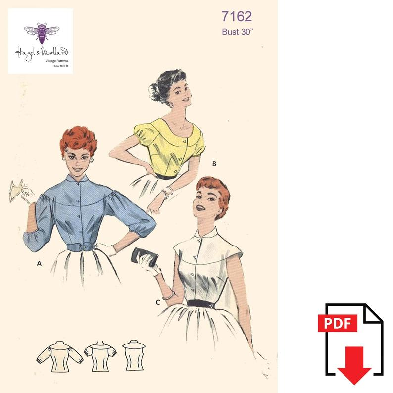 Vintage 1950's Sewing Pattern: Cape-Yoked Blouse Bust image 0