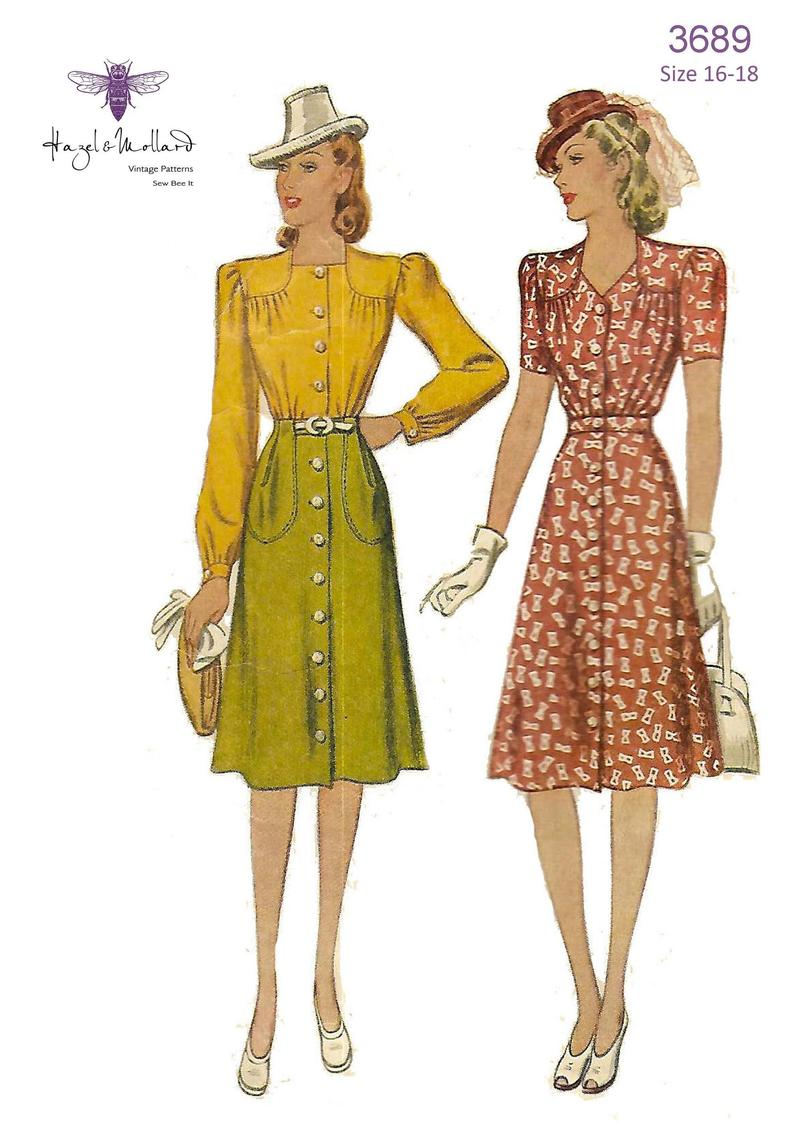 Vintage 1940's Sewing Pattern: Two Piece Dress  Blouse & image 0