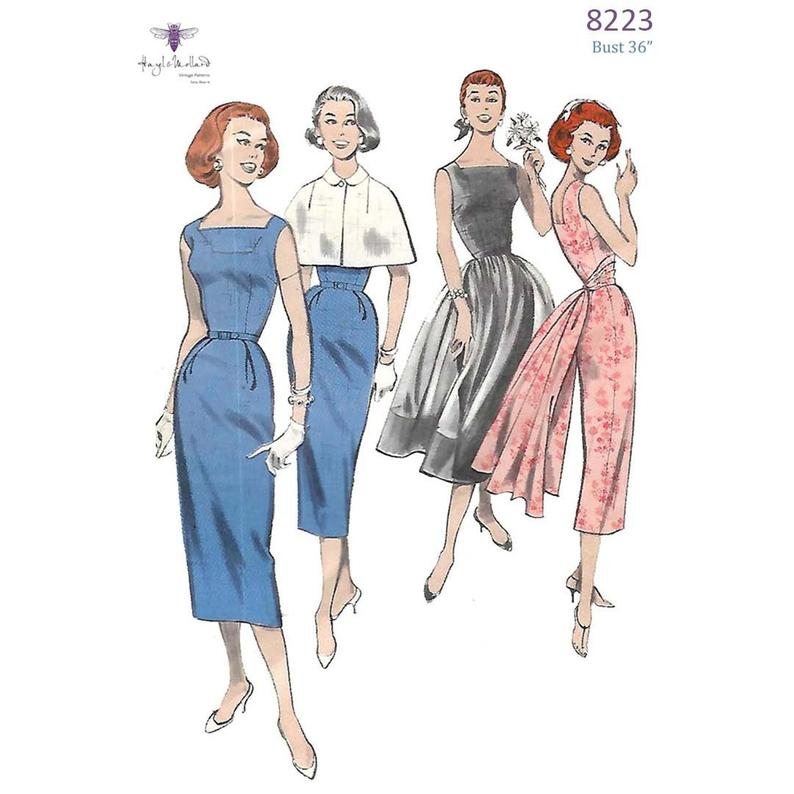 Vintage 1950's Sewing Pattern Fitted Dress Cape Over Skirt image 0