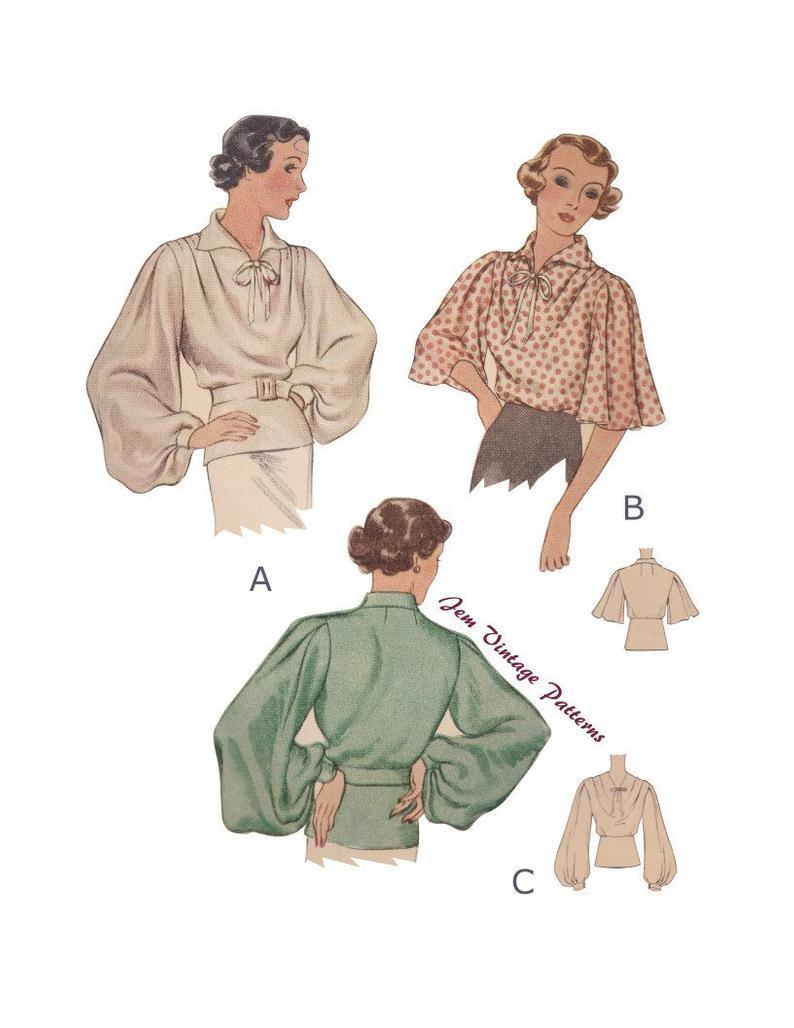 1930s bishop sleeve blouse  vintage sewing pattern  30s  image 0