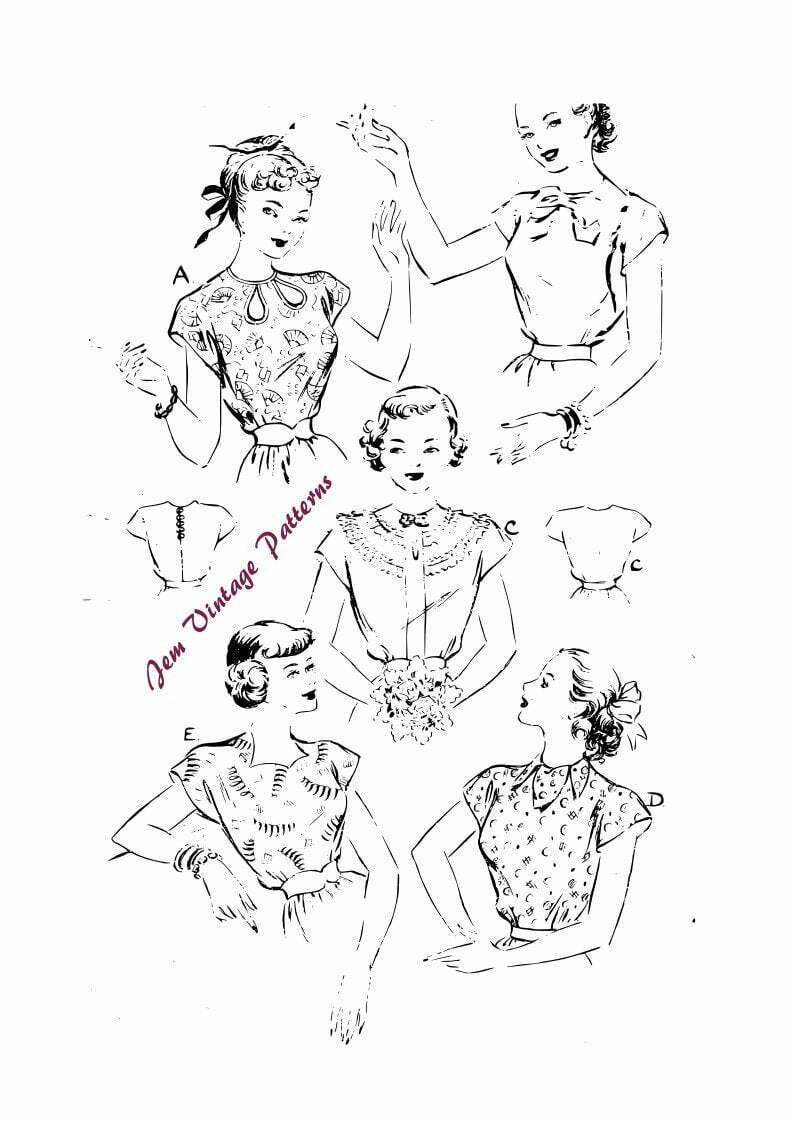 1950s magyar blouses with five views  vintage sewing pattern image 0