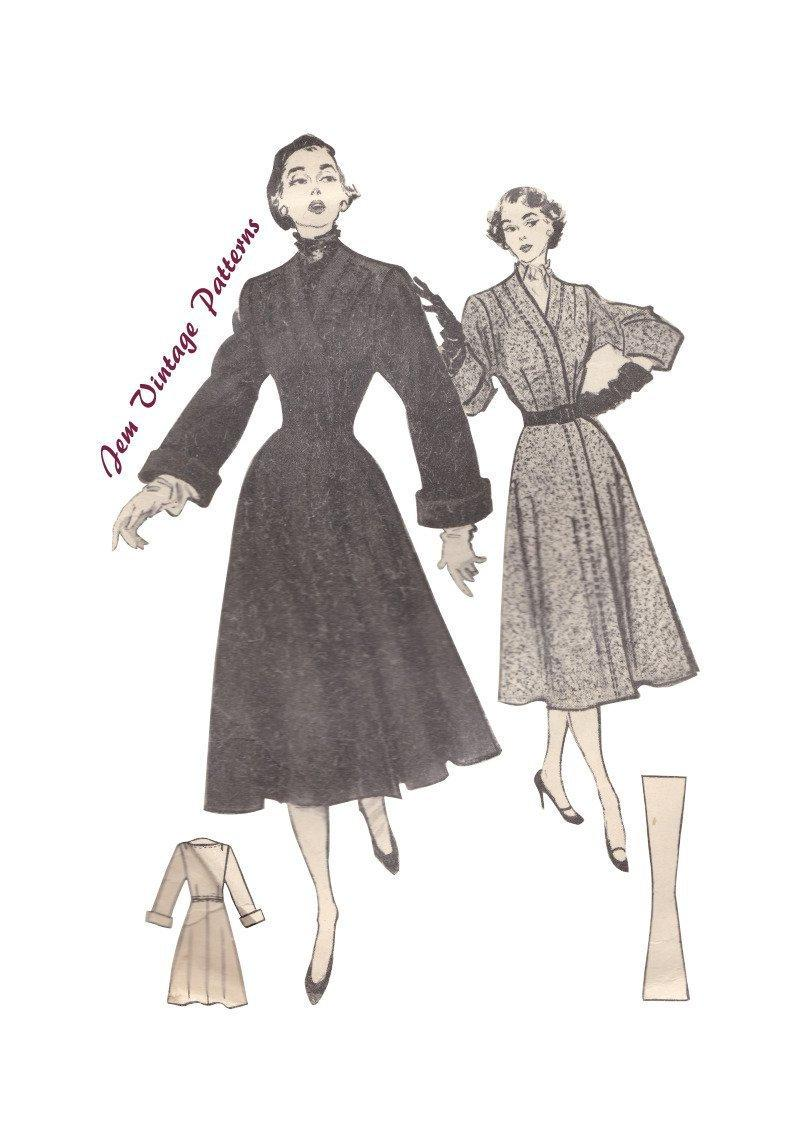 1950 fitted coat  vintage sewing pattern  50s  pdf sewing image 0