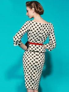 1950s Polka Dot Pencil Dress
