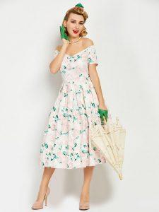 1950s Vintage Elegant Swing Dress